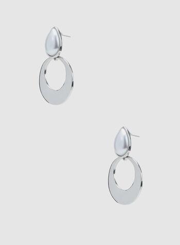 Boucles d'oreilles créoles et perles, Blanc cassé, hi-res