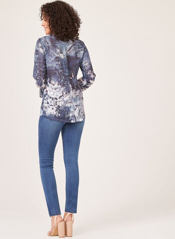 Vex - 3/4 Sleeve Abstract Blouse, Blue, hi-res