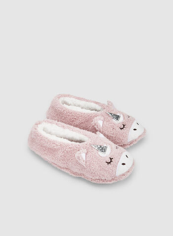 Unicorn Slippers, Pink, hi-res,  slippers, sleepwear, unicorn, non-slip, fall 2019, winter 2019