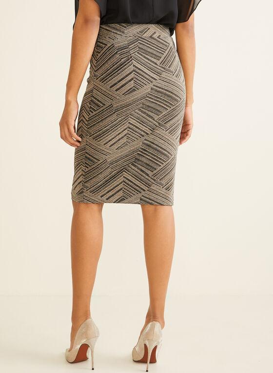 Metallic Geometric Print Skirt, White