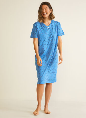 Cat Print Nightshirt, Blue,  cat print, nightshirt, pyjamas, sleepwear, short sleeves, dotted, stretchy, bow, v-neck, fall winter 2020