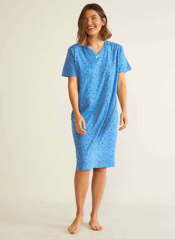 Cat Print Nightshirt, Blue