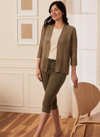 Pointelle Knit Cardigan, Green,  spring summer 2020, 3/4 sleeves, pointelle knit, open front, cardigan