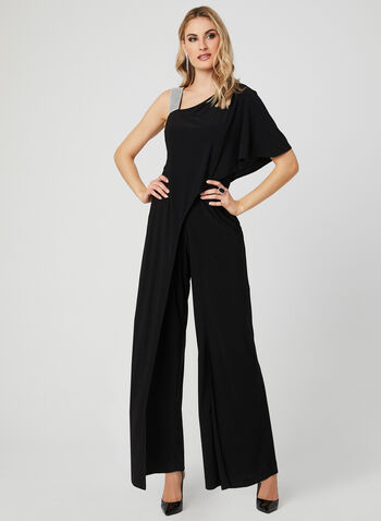 Asymmetrical Rhinestone Strap Jumpsuit, Black, hi-res