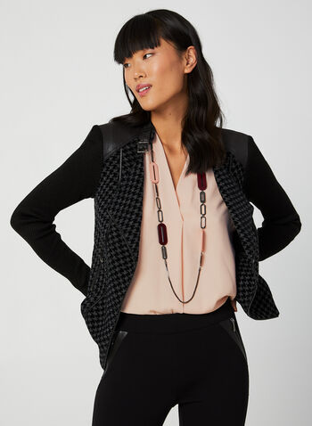 Vex - Houndstooth Jacket, Black, hi-res,  fall winter 2019, houndstooth, faux leather, jacket, Vex