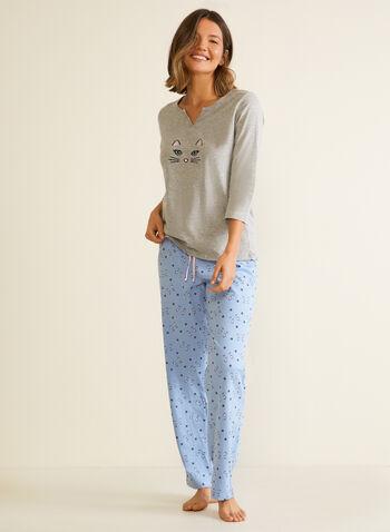 Ensemble pyjama à motif chat , Gris,  pyjama, ensemble 2 pièces, motif de chat, automne hiver 2020,