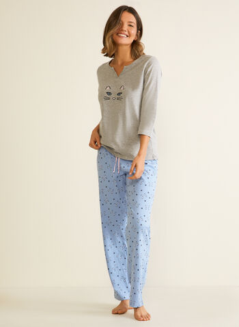 Cat Motif Pyjama Set, Grey,  pyjama, set, 2-piece, cat, fall winter 2020