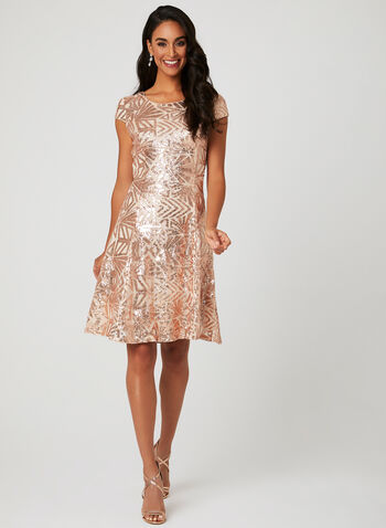 Robe en maille filet à sequins, Blanc cassé, hi-res