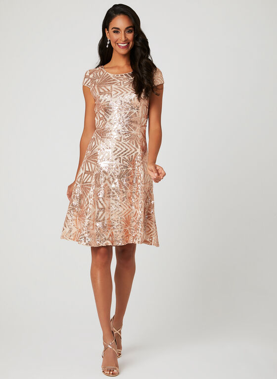 Sequin Mesh Dress, Off White, hi-res