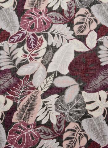 Foulard imprimé feuilles, Rose, hi-res