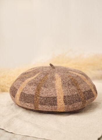 Plaid Wool Beret, Beige,  accessories, hat, beret, plaid, wool, fall winter 2021