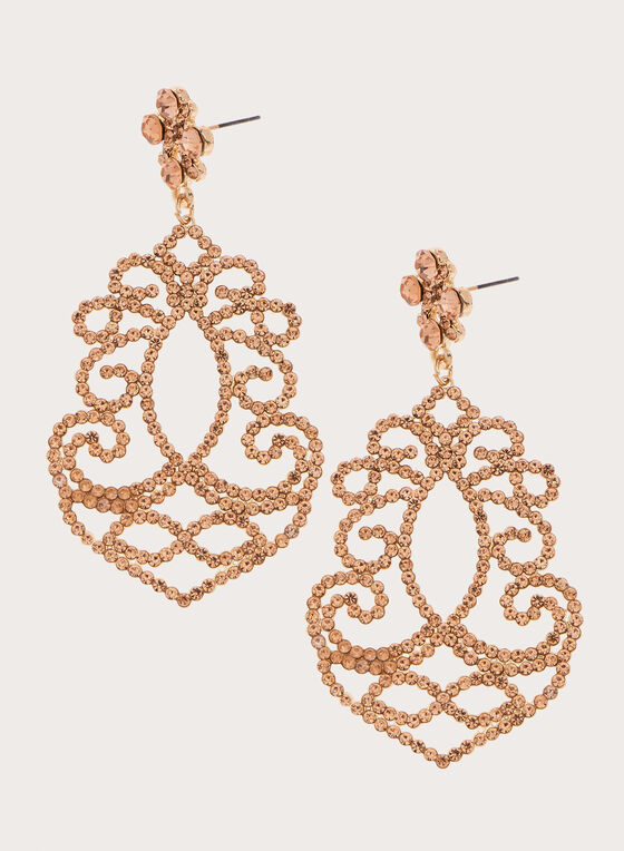 Boucles d'oreilles chandelier à cristaux, Orange, hi-res