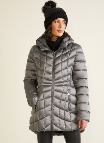 Bernardo - EcoPlume™ Packable Coat, Silver,  coat, outerwear, insulated, packable, environmentally friendly, quilted, hood, fall winter 2020