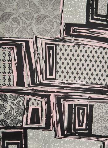 Patchwork Print Scarf, Grey, hi-res