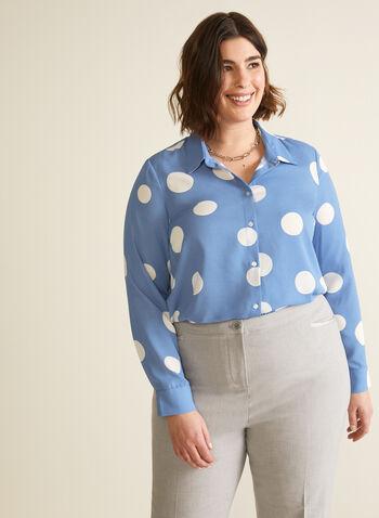 Chemisier à pois surdimensionnés, Bleu,  printemps été 2020, blouse, chemisier, manches longues, pois, motif, boutons, crêpe