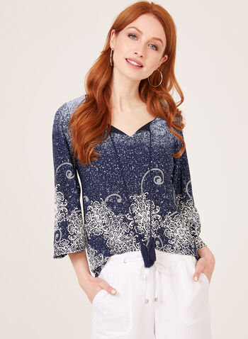 Floral Scroll Puff Print Blouse, Blue, hi-res