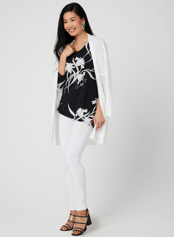 Asymmetric Floral Print Tunic, Black, hi-res,  Spring 2019, 3/4 sleeves, jersey