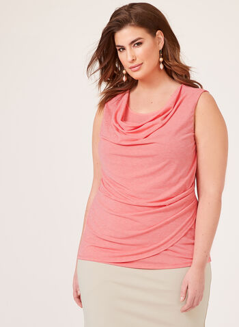 Sleeveless Draped Collar Top, Orange, hi-res