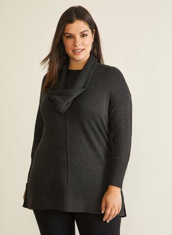 Tunic Sweater With Scarf, Grey,  sweater, scarf, rib knit, tunic, fall winter 2020