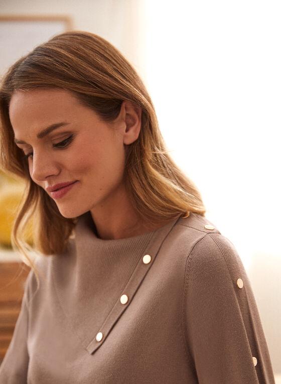 Split Neck Sweater, Brown