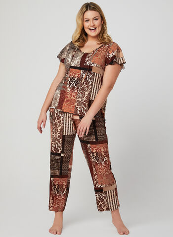 Mixed Print 2-Piece Pyjama Set, Brown, hi-res