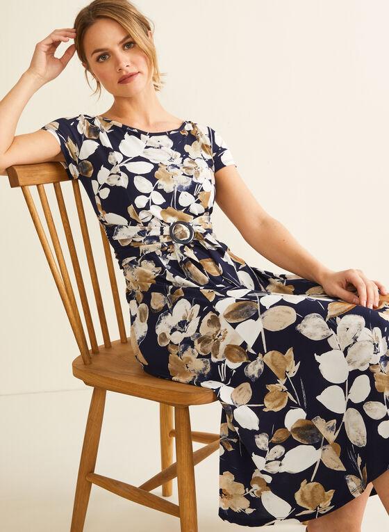 Floral Print Jersey Dress, Blue