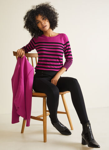 Stripe Print 3/4 Sleeve Sweater , Purple,  Fall winter 2020, sweater, knit, 3/4 sleeves, striped, boat neck,