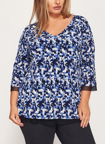 Abstract Print Jersey Top , , hi-res