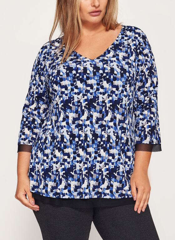 Abstract Print Jersey Top , Blue, hi-res