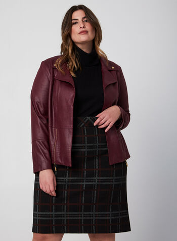 Faux Leather Jacket, Red, hi-res,  jacket, faux leather, notch collar, long sleeves, fall 2019, winter 2019