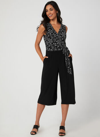 Floral Print Jumpsuit, Black, hi-res,  jersey, sleeveless, cropped, wide leg, puff print, tie detail, fall 2019, winter 2019