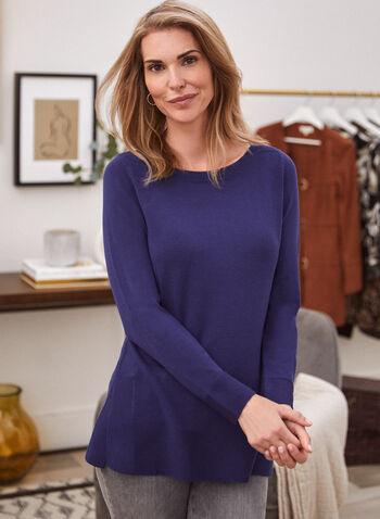 Pull long en tricot fin, Bleu,  automne hiver 2020, pull, tricot, chandail, haut, manches longues, tunique