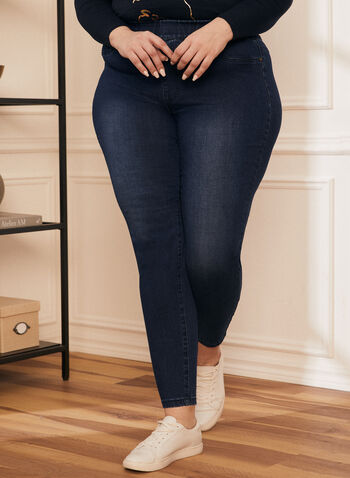 Pull-On Straight Leg Jeans, Blue,  jeans, denim, pull-on, pockets, stretchy, cotton, spring summer 2021