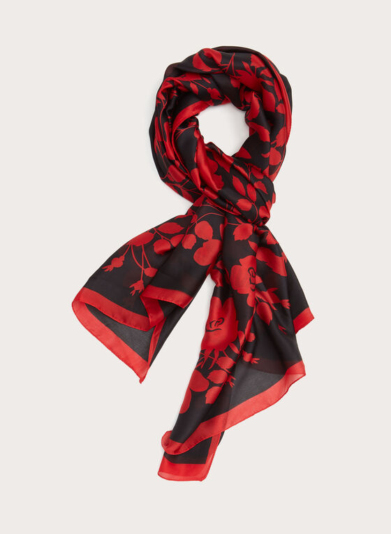 Rose Bush Print Oblong Scarf, Red, hi-res