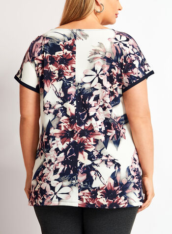 Floral Print Short Sleeve Tunic, , hi-res