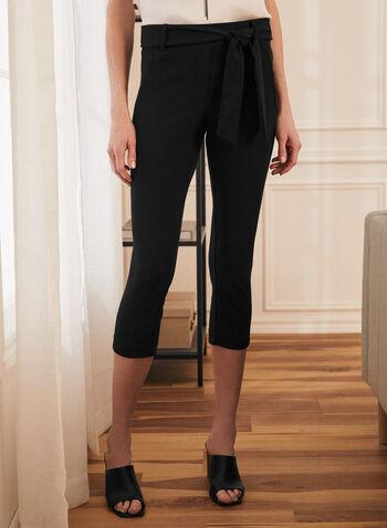 Slim Leg Pull-On Capris, Black,  capris, pull-on, crepe, slim leg, belt, spring summer 2020