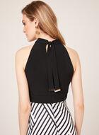 Stripe Print Halter Top Dress, Black, hi-res