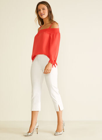 Bardot Neckline Crepe Blouse, Red,  blouse, bardot, off the shoulder, knot, long sleeves, spring summer 2020