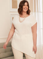 Textured Asymmetric Short Sleeve Sweater, White