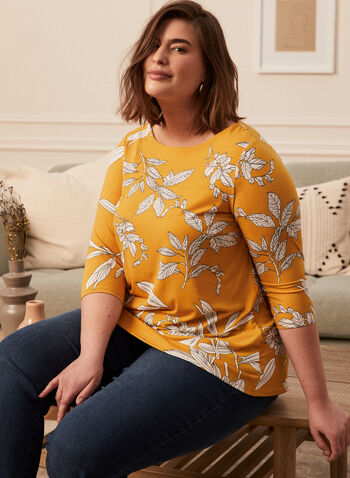 Floral Print 3/4 Sleeve Top, Yellow,  top, floral 3/4 sleeves, boat neck, jersey, spring summer 2021