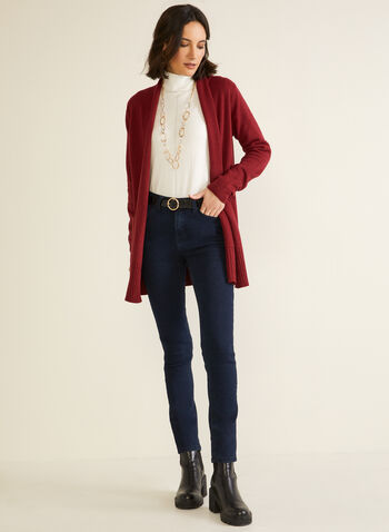 Mid Length Cardigan With Pockets, Red,  fall winter 2020, cardigan, open, long sleeves, pockets, knit, holiday
