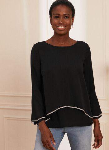 Tiered Embellished Trim Blouse, Black,  blouse, tiered, embellished, crepe, scoop neck, bell sleeves, spring summer 2020