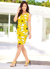 Keyhole Neck Daisy Print Dress , , hi-res