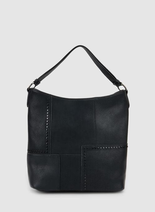 Patchwork Hobo Bag, Black