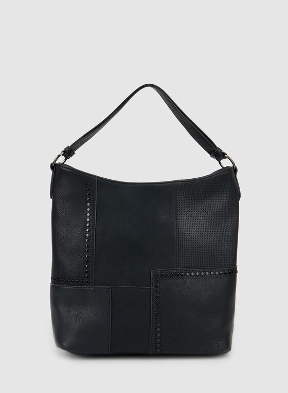 Patchwork Hobo Bag, Black