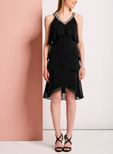Tiered Beaded Neck Dress, Black, hi-res