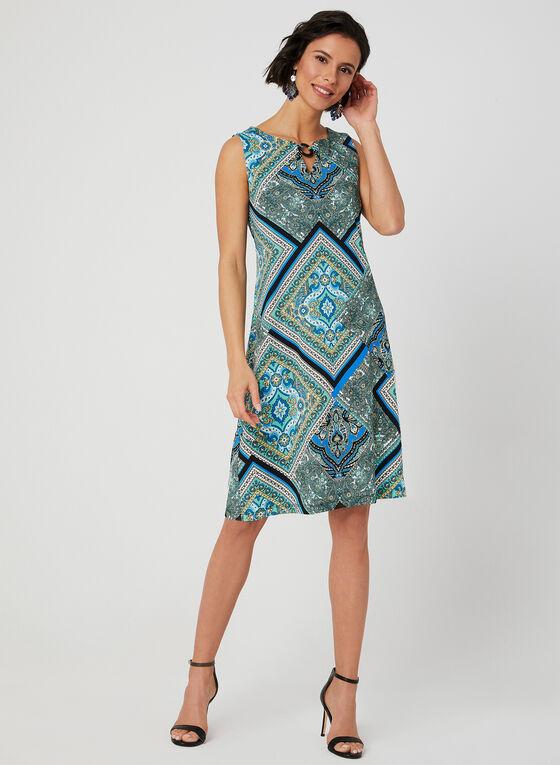 Robe courte à motif foulard, Bleu