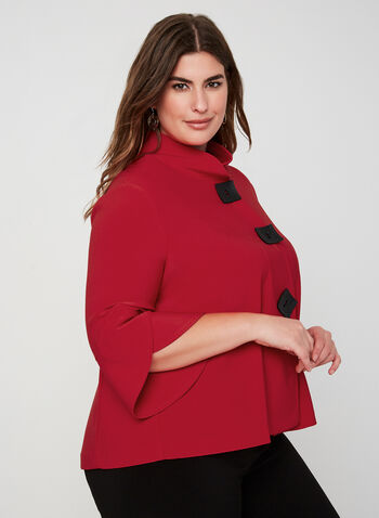 Joseph Ribkoff - Tulip Sleeve Jacket, Red,  Canada, Joseph Ribkoff, jacket, Ponte de Roma, 3/4 sleeves, long sleeves, fall 2019, winter 2019