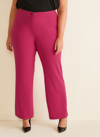 Pantalon coupe moderne à jambe large, Rose,  pantalon, moderne, jambe large, pinces, crêpe, printemps été 2020