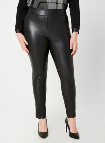Faux Leather Slim Leg Pants, Black, hi-res,  slim fit, faux leather, pull-on, Fall 2019, Winter 2019